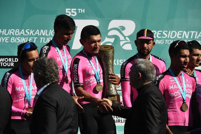 Renners van de ploeg op het podium van de Ronde van Turkije vorig jaar.