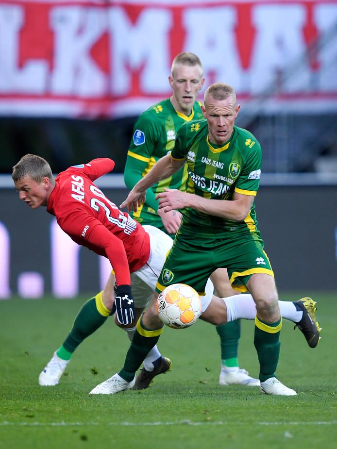 Tom Beugelsdijk was tegen AZ in verdedigend én in aanvallend opzicht belangrijk voor ADO Den Haag. Hij verzorgde de assist op de 2-3 in blessuretijd.