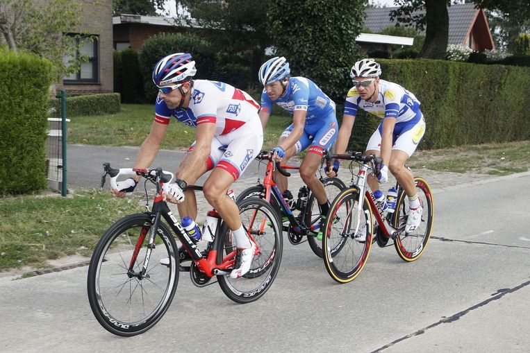 Edward Theuns, David Boucher (l) en Frederik Veuchelen (m) gingen in het offensief