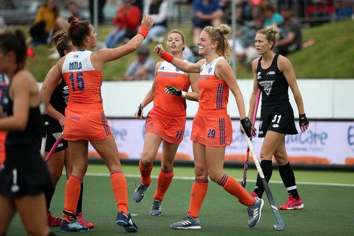 Maartje Krekelaar na haar goal tegen Nieuw-Zeeland.