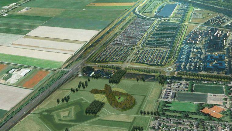 Ontwerp van het MH17 monument zoals het er straks uit komt te zien vanuit een vliegtuig. Beeld Robbert de Koning landschapsarchitect BNT / Duplo Studio