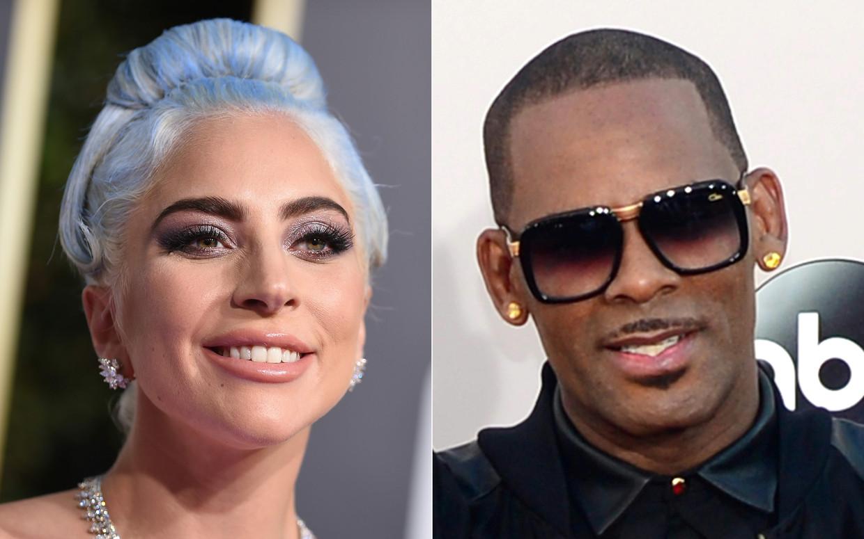 Lady Gaga (l.) heeft zich verontschuldigd voor haar samenwerking met R. Kelly (r.), tegen wie er de afgelopen jaren klachten werden ingediend wegens kindermisbruik en kinderpornografie. Beeld AFP