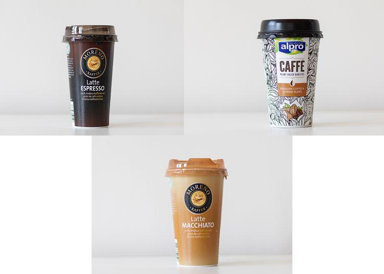Van links naar rechts: Moreno Latte Espresso, Alpro Caffè Brazilian Coffee & Almond Blend en Moreno Latte Macchiato.