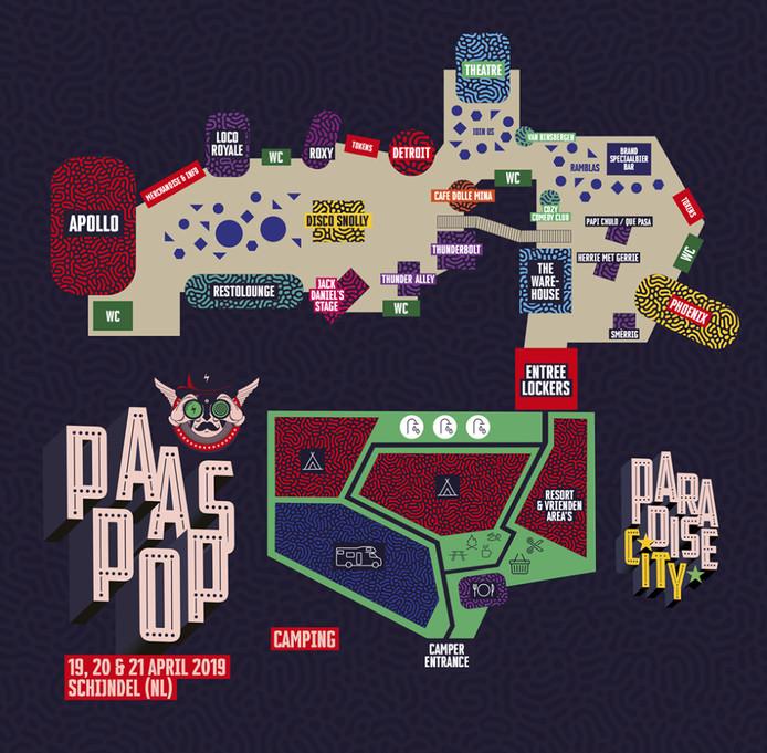 Plattegrond van het terrein voor het komende Paaspop-festival in Schijndel.