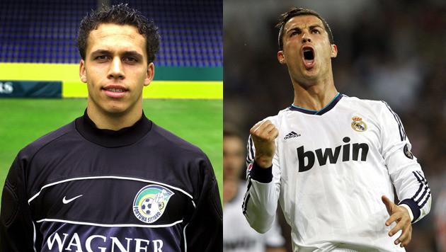 Sten Dreezen (l) en Cristiano Ronaldo.