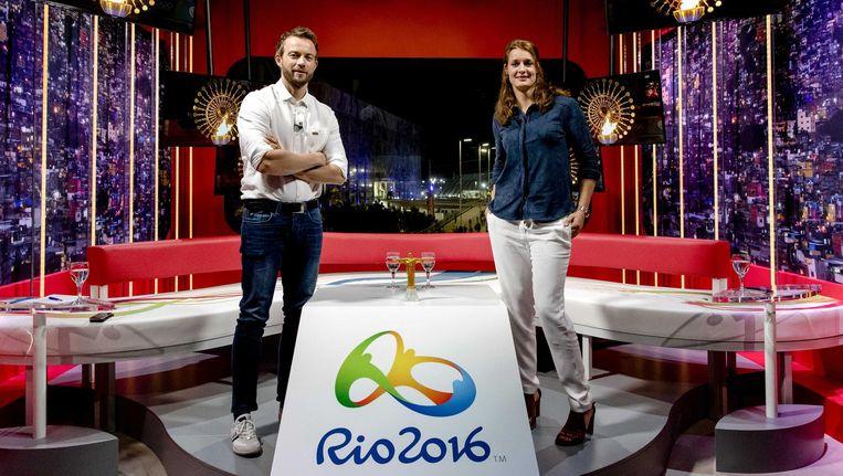 Henry Schut (L) en Edith Bosch In Studio Olympic Parc Beeld anp