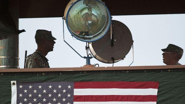 Een wachttoren van de Guantánamo-gevangenis. Beeld afp