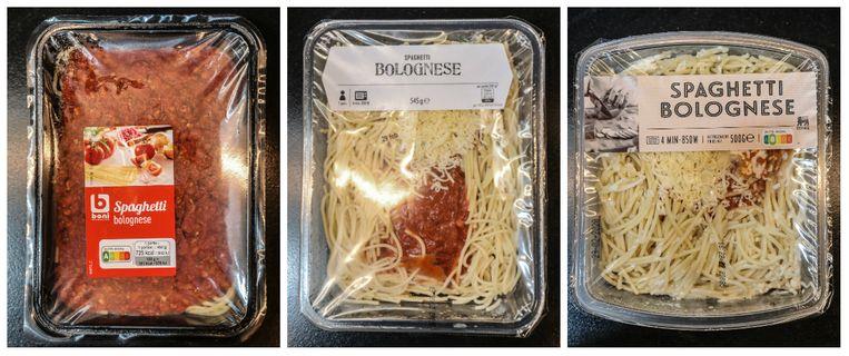 Vlnr: Spaghetti bolognese van Colruyt, Albert Heijn, Delhaize