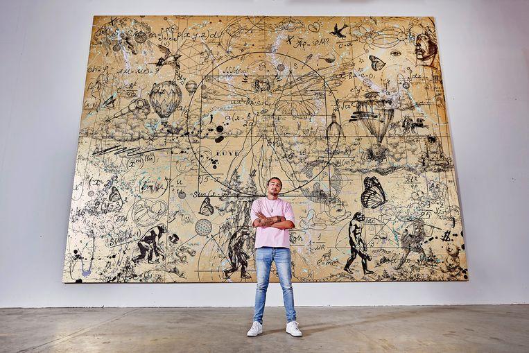 Joseph Klibansky met zijn kunstwerk. Beeld Bastiaan van Musscher