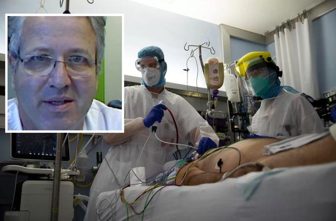 Verpleegkundigen op de covid-afdeling van het Citadelle-ziekenhuis in Luik. Jan Stroobants, de voorzitter van de Belgische Vereniging van Spoedartsen, stond via videochat HLNLIVE te woord.
