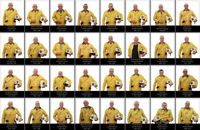 Voormalige brandweermannen van Brandweer Bunschoten, vereeuwigd in een Wall of Flame.
