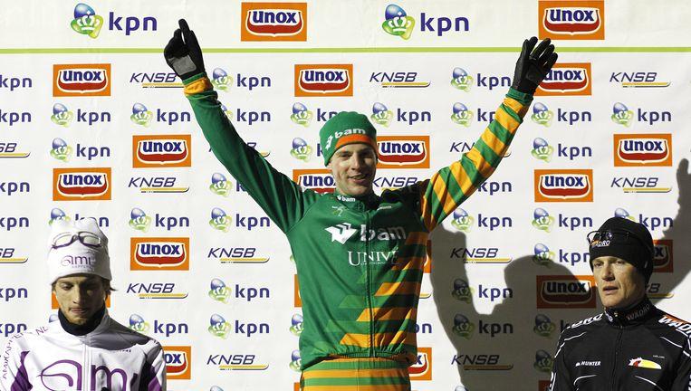 De Vries won een paar weken geleden ook de eerste marathon op natuurijs van het seizoen, in Noordlaren. Beeld anp