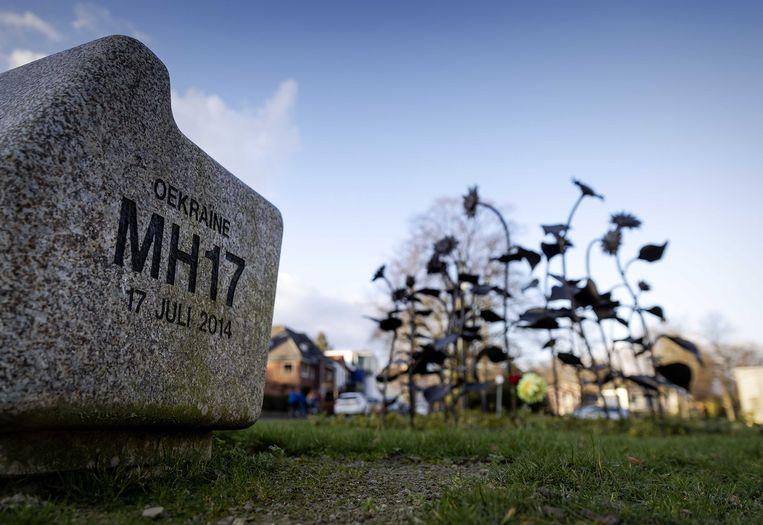 Het MH17-monument in het Dudokpark. Beeld ANP