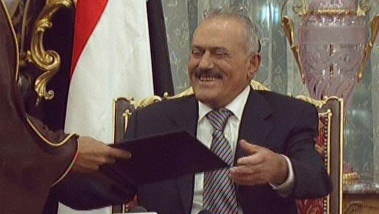 TV-opname van president Ali Abdullah Saleh van Jemen. Beeld AFP
