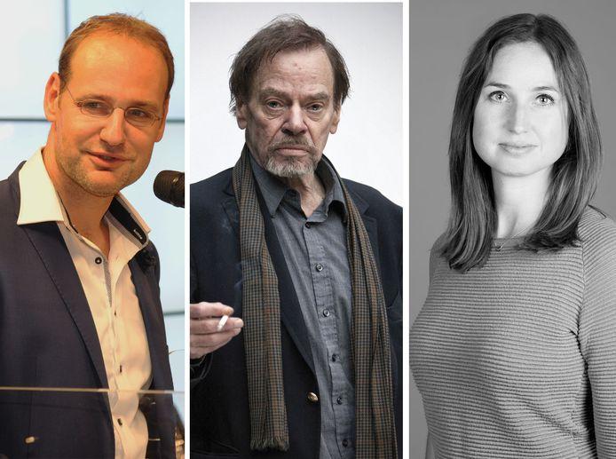 Drie van de vijf auteurs: Jan Vantoortelboom, Wessel te Gussinklo en Sanne Blauw.