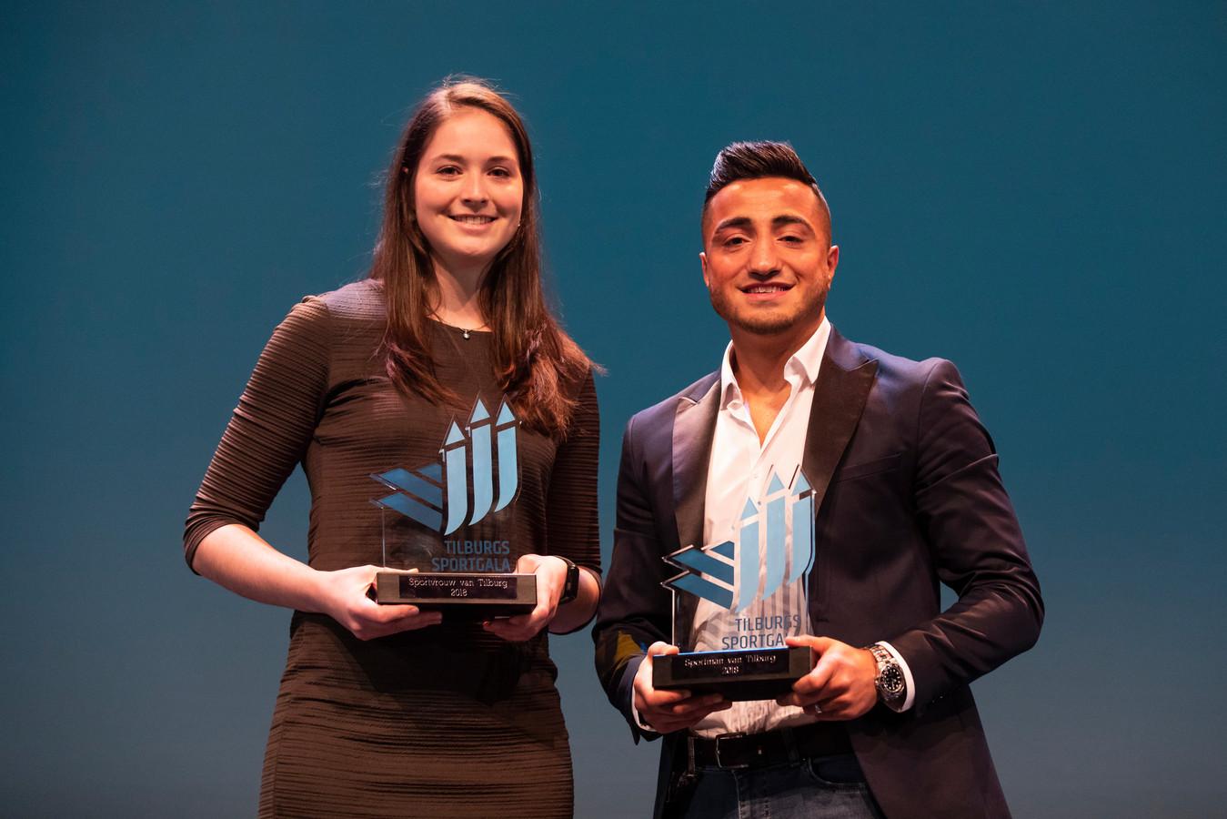 Tanita Hofmans en Tayfun Özcan, Sportvrouw en Sportman van Tilburg in 2018.