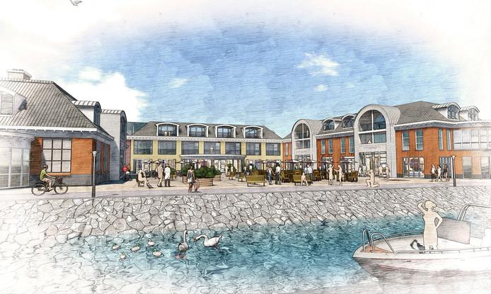 toekomstige hotel bij de nieuwe jachthaven De Batterij in Willemstad