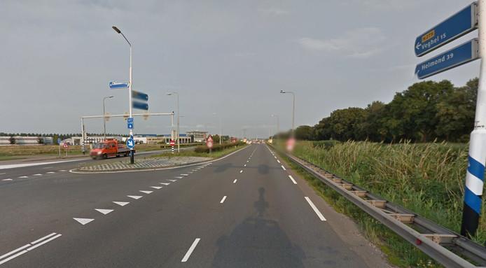 De N279 ter hoogte van bedrijventerrein De Brand.