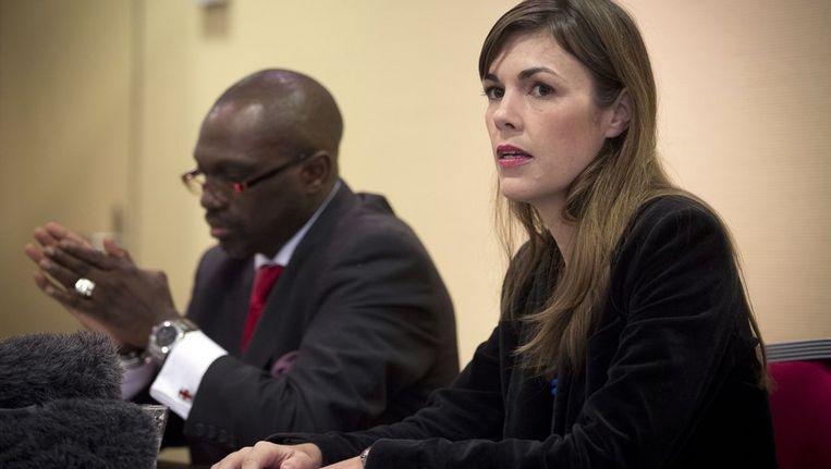 Melinda Taylor vertelde gisteren op een persconferentie in Den Haag hoe de gijzeling in Libië was verlopen. Beeld anp