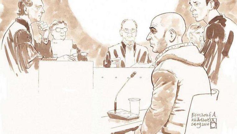 Benaouf A. in de rechtbank. El J. zegt op zijn dodenlijst te staan. Beeld anp