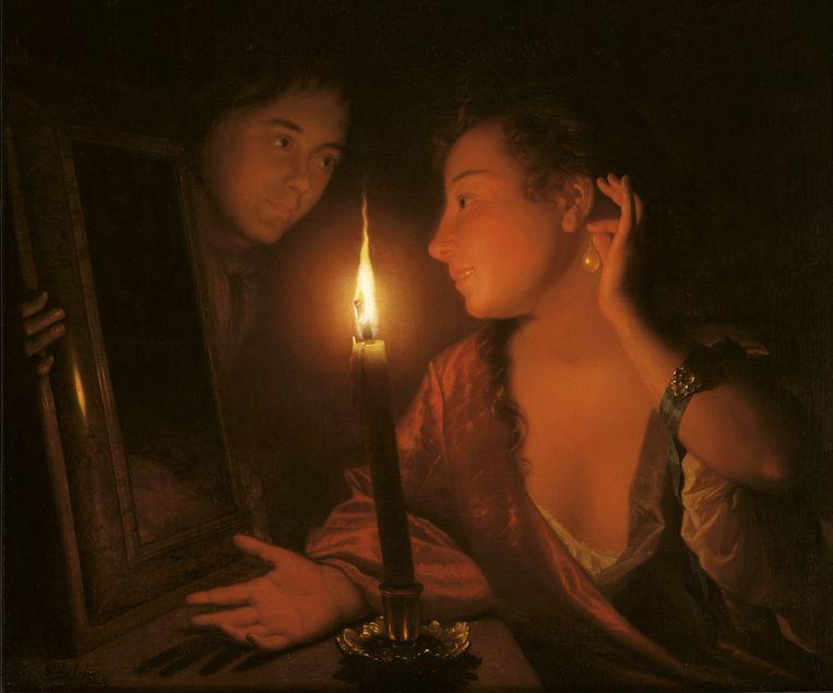 Jonge vrouw met parel bij kaarslicht, circa 1695. Beeld J. v. Haeften Ltd, Londen