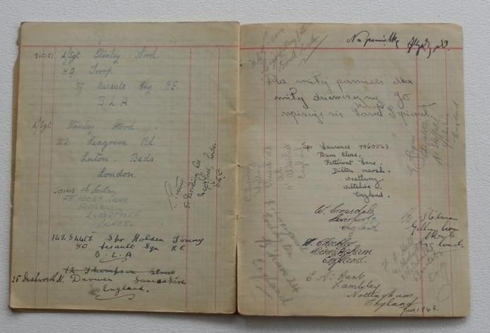 Bladzijden met korte aantekeningen van een soldaat in de Tweede Wereldoorlog. foto's archief heemkundekring Op 't Goede Spoor