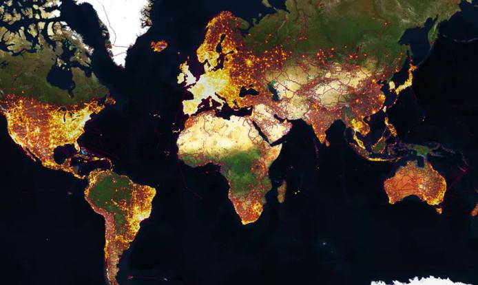 Een wereldkaart van sportactiviteiten op Strava.