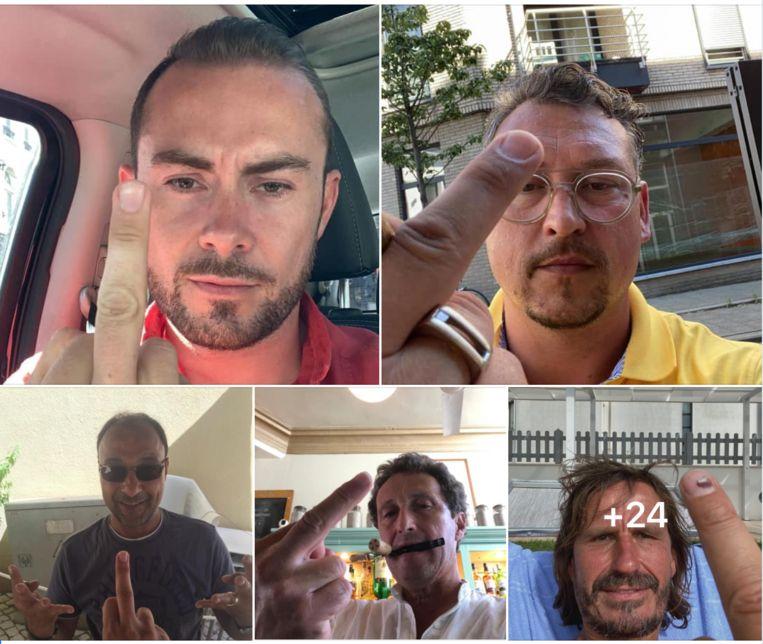 Antwerpse horeca-uitbaters uiten hun ongenoegen tegenover de provincie door een foto te posten waarop ze hun middenvinger tonen.