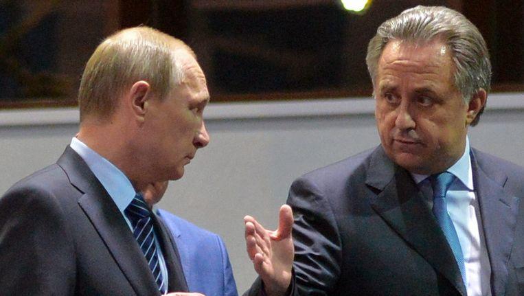 Minister van Sport Vitali Mutko (rechts) met president Vladimir Poetin.