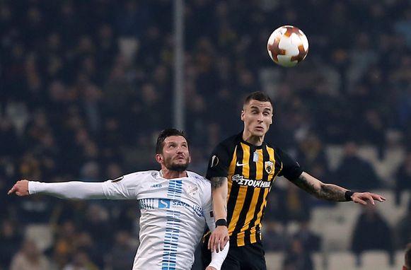 Ognjen Vranjes met AEK Athene vorige maand tegen HNK Rijeka in de Europa League.