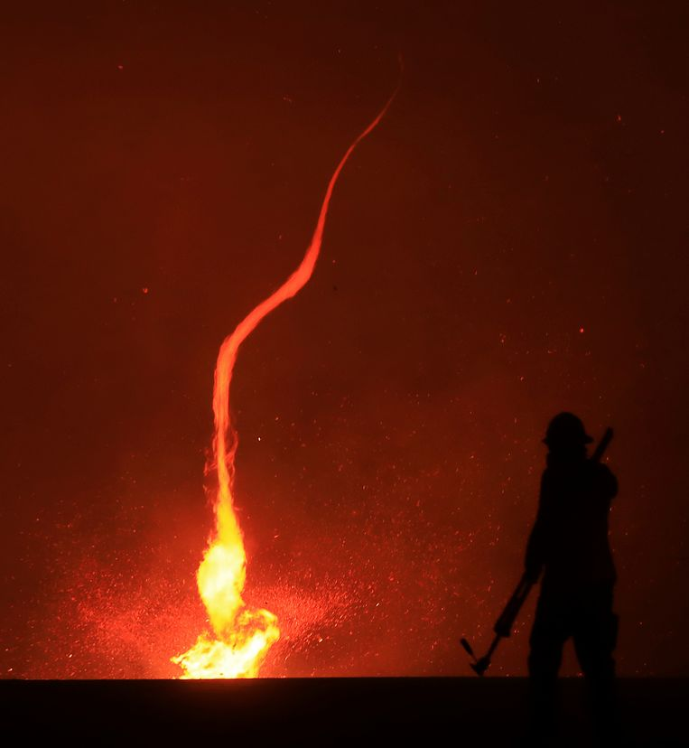 Een spectaculaire vuurhoos.