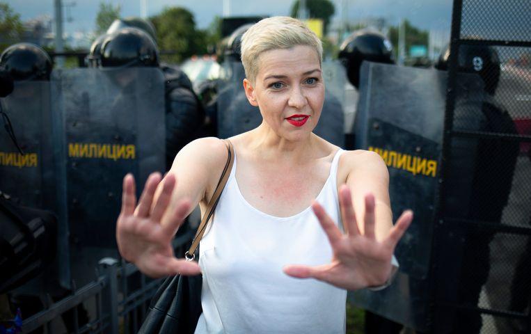 Maria Kolesnikova bij een demonstratie in Minsk op 30 augustus. Beeld AP