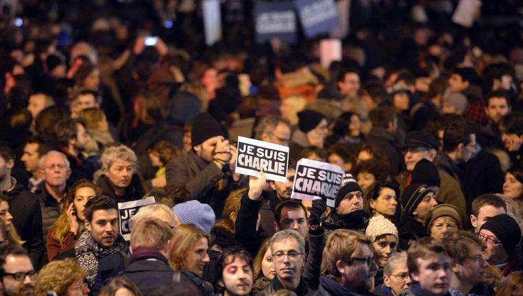 Een mars na de aanslag op de redactie van Charlie Hebdo op de Place de la Republique in Parijs. Beeld ANP