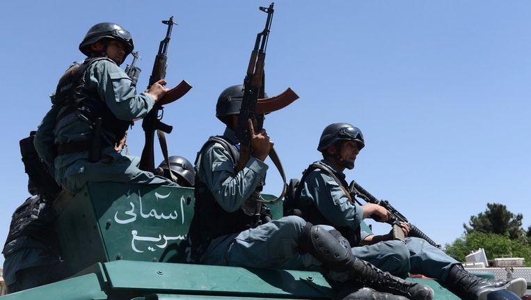 Afghaanse politiemannen. Beeld afp