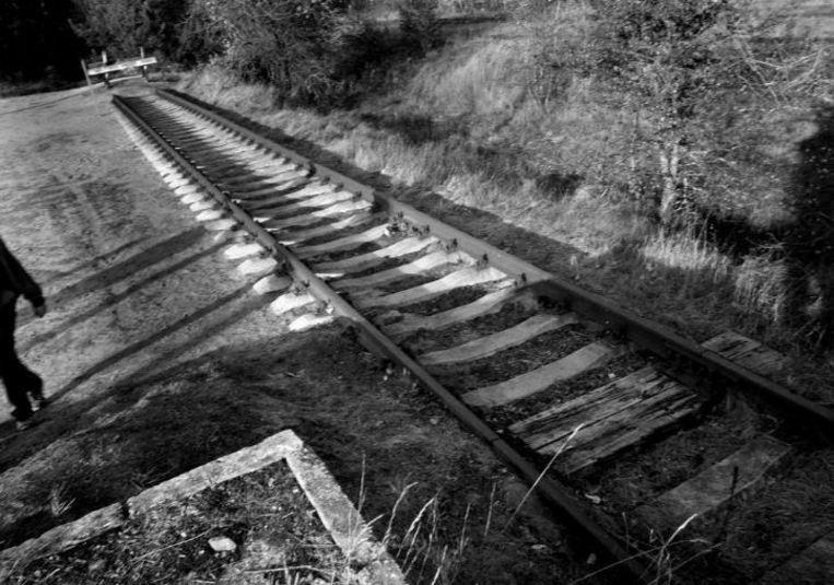De spoorrails bij het voormalige concentratiekamp Sobibor, bekend als de Rampe. Beeld HH