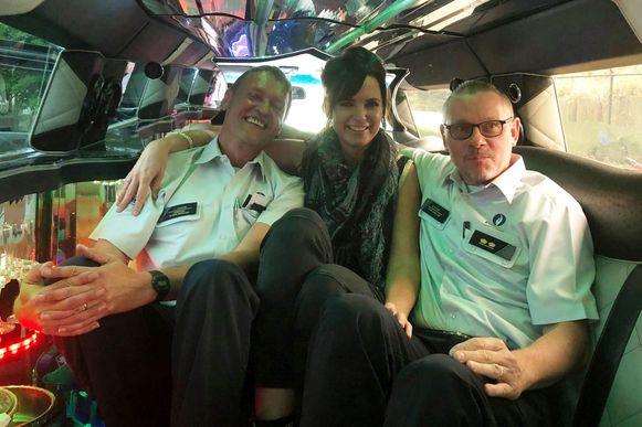 Korpschef Luk Lacaeyse, DJ Tess Goossens en commissaris Benny De Smet.