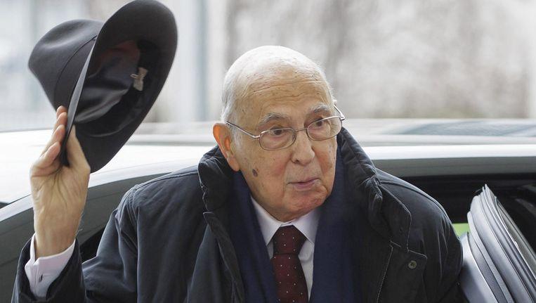 Giorgio Napolitano, op 28 februari in Berlijn Beeld getty