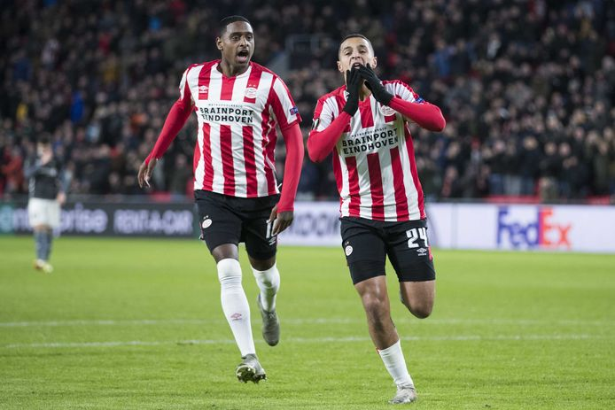 Mohamed Ihattaren viert zijn goal tegen Rosenborg.