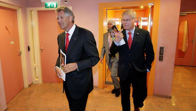 Robin Linschoten (rechts) in in 2009 samen met toenmalig bestuursvoorzitter van de DSB-bank Dirk Scheringa Beeld ANP
