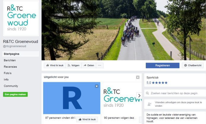 De nieuwe Facebookpagina van RTC Groenwoud