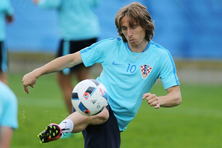 Modric op Kroatische training. Beeld afp