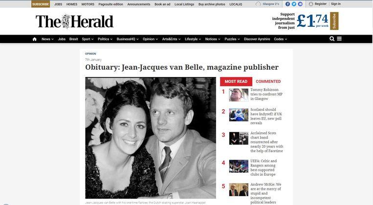 De inmiddels verwijderde necrologie van Jean-Jacques van Belle op de website van The Herald, een van de grootste en oudste kranten van Schotland. Op de foto is Van Belle te zien met zijn toenmalige verloofde, de kunstschaatser Joan Haanappel. Beeld