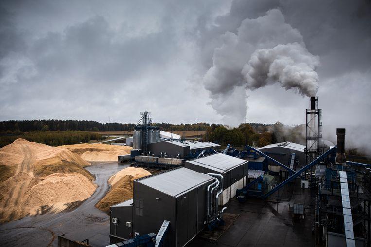 Granuul Invest in Osula. De rook uit de schoorsteen is vooral waterdamp die ontstaat als het hout gedroogd wordt. Links liggen houtchips en zaagsel. Er werken bijna geen mensen in de fabriek. De meeste processen zijn geautomatiseerd. Beeld Waldthausen Marlena