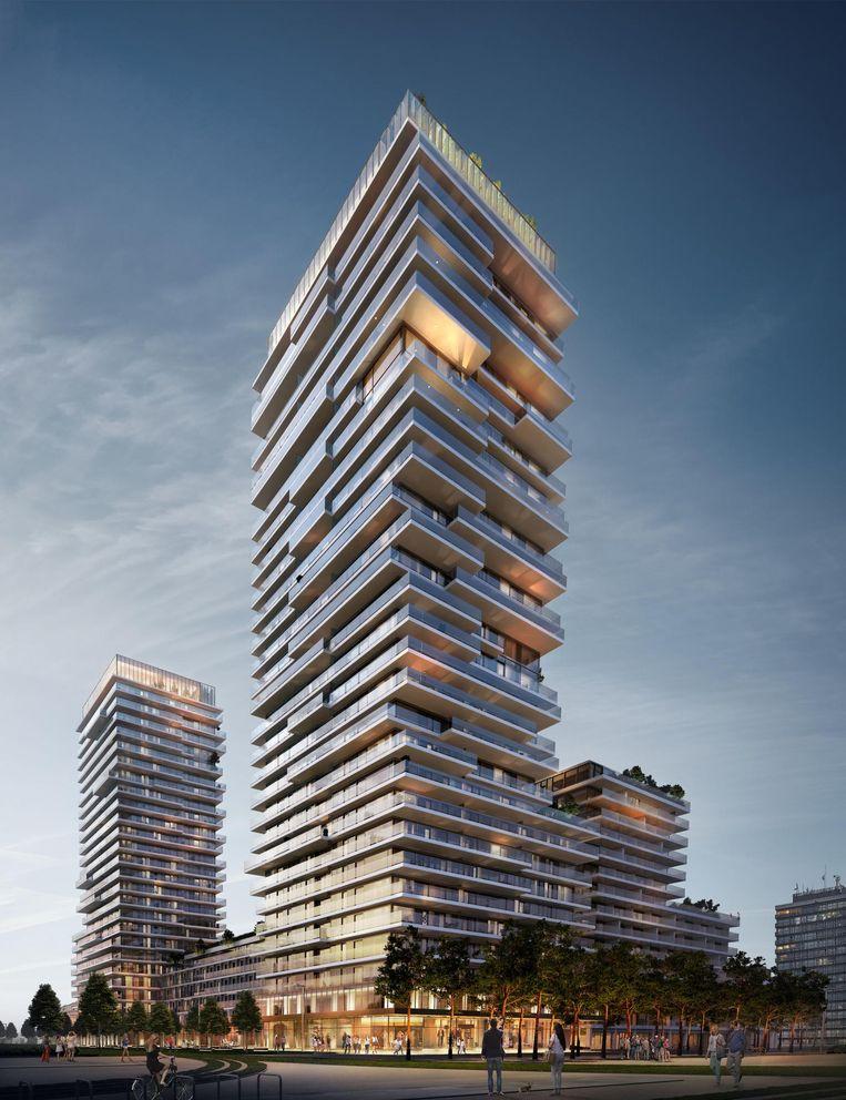 Een toekomstbeeld van de torens op de site van de hotelschool.