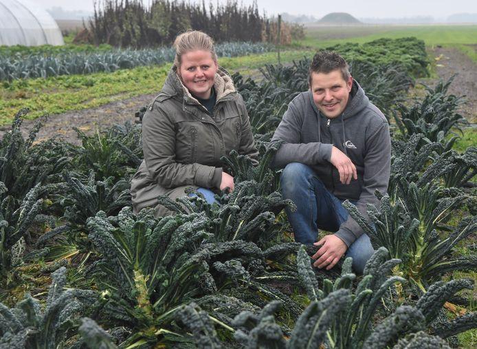 Liesbeth en Adwin Dekker in een palmkoolveld.