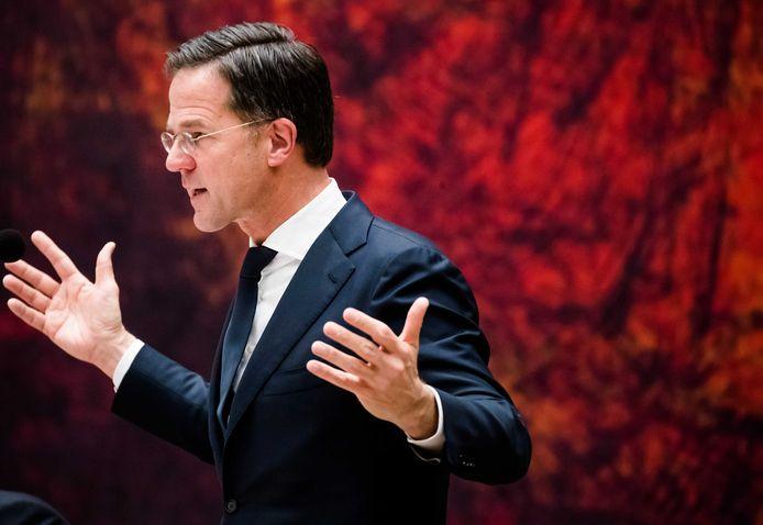 Premier Mark Rutte wond zich in debat met de Kamer vanavond flink op.