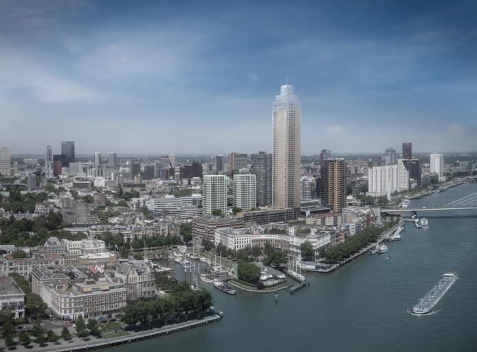 Een schets van de Zalmhaventoren in Rotterdam.