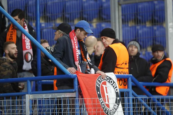 Supporters van Feyenoord bij het Champions Leagueduel tussen Sjachtar Donetsk en Feyenoord in het Metalist stadion.