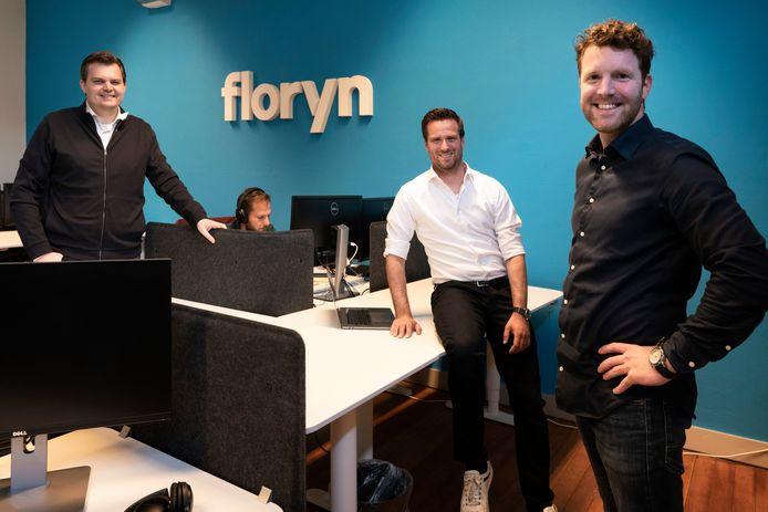 De oprichters van Floryn in Den Bosch: Sven van der Biezen, Marijn van Aerle en Gion van den Bogaert (vlnr). De oud-schoolvrienden begonnen samen met het bedrijf.