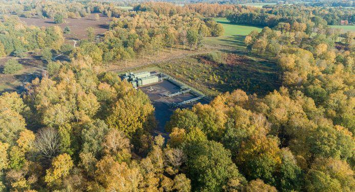 De boorputlocatie TUB7 in het natuurgebied Springendal.